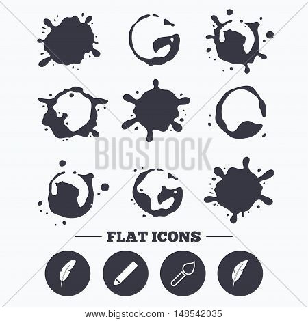 Paint, coffee or milk splash blots. Feather retro pen icons. Paint brush and pencil symbols. Artist tools signs. Smudges splashes drops. Vector
