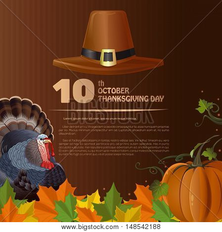 Thanksgiving Day design (Canada). 10th October. Thanksgiving background. Vector illustration with pumpkin, turkey, fallen autumn leaves and pilgrim's hat