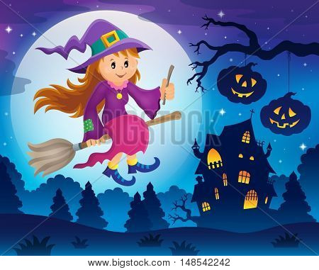 Cute witch theme image 5 - eps10 vector illustration.