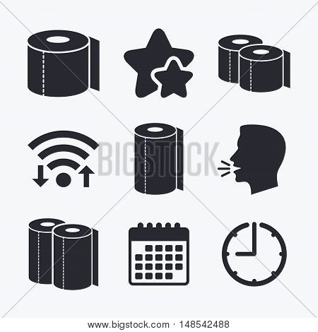 Toilet paper icons. Kitchen roll towel symbols. WC paper signs. Wifi internet, favorite stars, calendar and clock. Talking head. Vector
