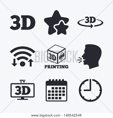 3d technology icons. Printer, rotation arrow sign symbols. Print cube. Wifi internet, favorite stars, calendar and clock. Talking head. Vector