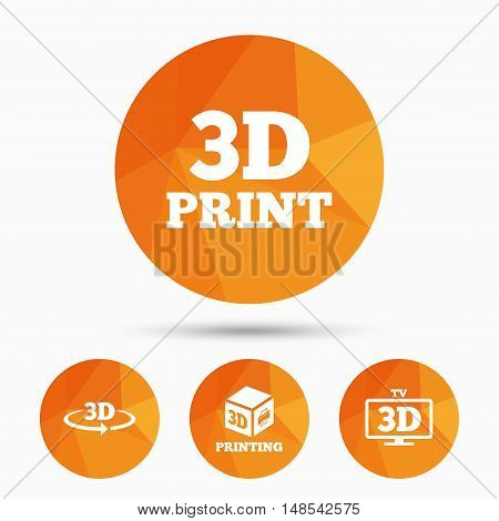 3d technology icons. Printer, rotation arrow sign symbols. Print cube. Triangular low poly buttons with shadow. Vector