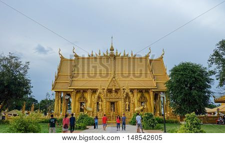 Golden paint temple Wat Pak Nam Jolo Bang Khla Chachoengsao Thailand Wan Khao Phansa (Buddhist Lent Day) 2016first day after the full moon of the eighth lunar month 20th July 2016.