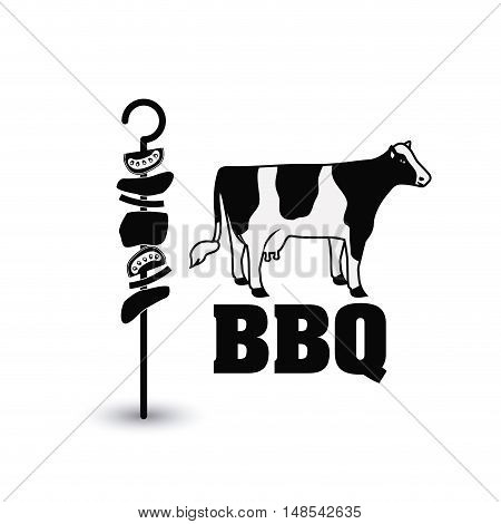meat skewer cow bbq and grill menu icon. Steak house food and restaurant theme. Isolated design. Vector illustration