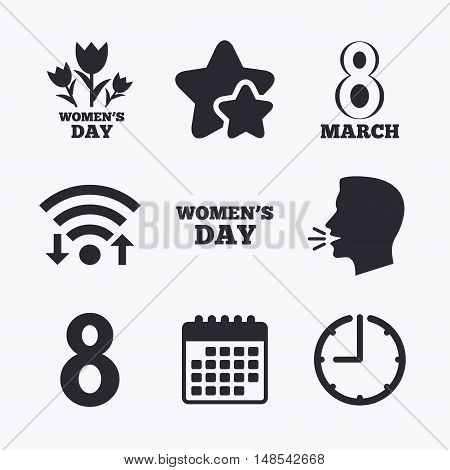 8 March Women's Day icons. Tulips or rose flowers bouquet sign symbols. Wifi internet, favorite stars, calendar and clock. Talking head. Vector