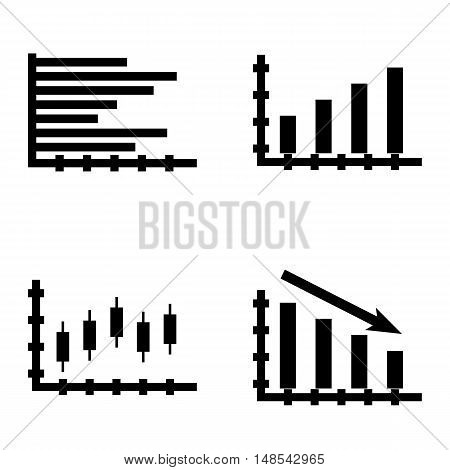 Set Of Statistics Icons On Statistics Down, Candles Chart, Horizontal Bar Chart And More. Premium Qu