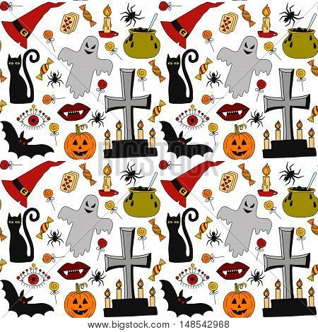 Cute halloween seamless vector pattern with cartoon scary trick or treat symbols