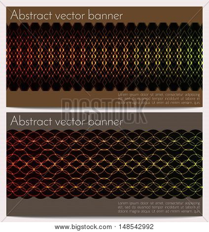 Vector horizontal banners set with glowing snake skin. Effect neon glow. Template with sample text. Ethnic ornament on dark background.