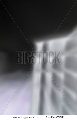 Negative motion blur of apartment building in vertical 3:2 format.