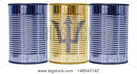 Three tin cans with the flag of Barbados on them isolated on a white background.