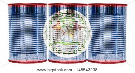 Three tin cans with the flag of Belize on them isolated on a white background.