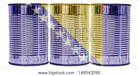 Three tin cans with the flag of Bosnia and Hercegovina on them isolated on a white background.
