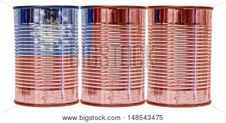 Three tin cans with the flag of Burma on them isolated on a white background.