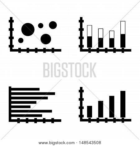Set Of Statistics Icons On Horizontal Bar Chart, Stacked Bar, Bar Chart And More. Premium Quality Ep