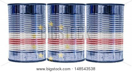 Three tin cans with the flag of Cabo Verde on them isolated on a white background.