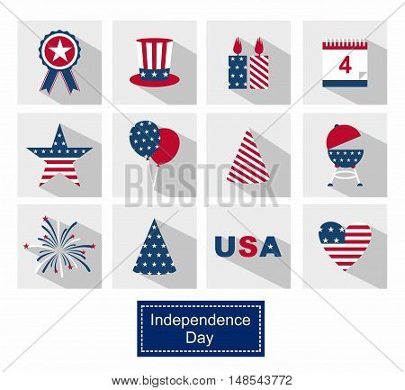 Icons Set Happy independence day line icons United States of America, 4 th of July