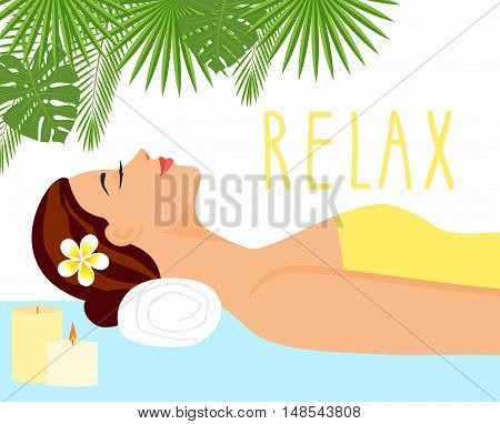 illustration beautiful woman in spa environment. woman relaxing in wellness and spa salon