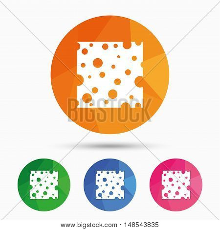 Cheese sign icon. Slice of cheese symbol. Square cheese with holes. Triangular low poly button with flat icon. Vector