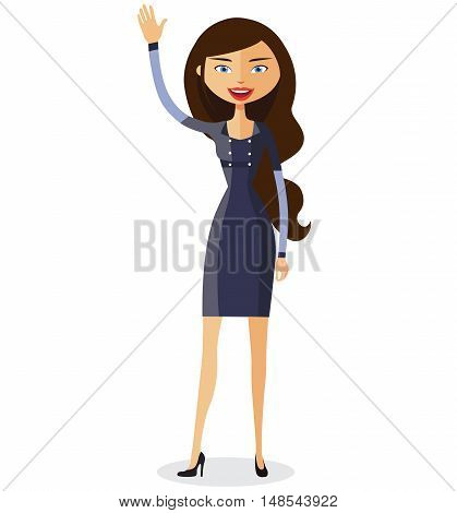 business woman.Cheerful young girl waving her hand flat cartoon vector illustration. Eps10. Isolated on a white background.