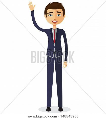 Cheerful young business man waving her hand flat cartoon vector illustration. Eps10. Isolated on a white background.