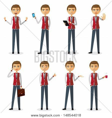 Cartoon character set of businessman in various poses, trendy flat design flat cartoon vector illustration. Eps10. Isolated on a white background. Set of Happy office man