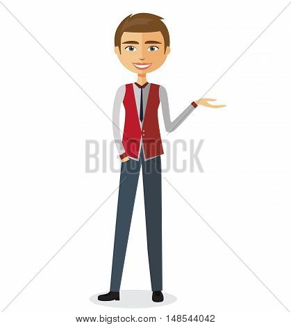 Businessman Presenting Something flat cartoon vector illustration. Eps10. Isolated on a white background.