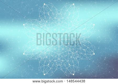 Geometric abstract connected line with dots. Big data visualization. Molecule and communication background. Social network information. Modern technology concept. Vector illustration