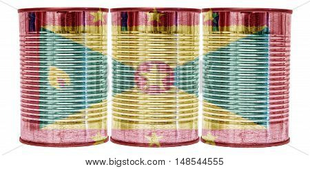 Three tin cans with the flag of Grenada on them isolated on a white background.