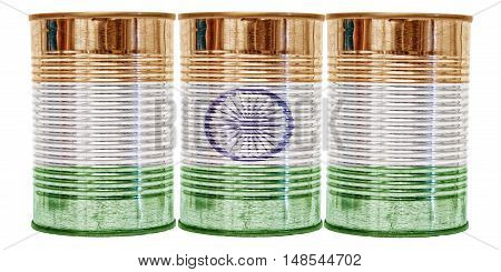 Three tin cans with the flag of India on them isolated on a white background.