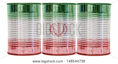 Three tin cans with the flag of Iran on them isolated on a white background.