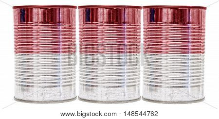Three tin cans with the flag of Indonesia on them isolated on a white background.