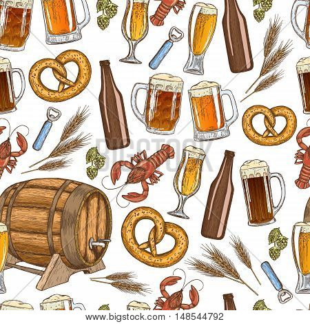 Seamless pattern of beer icons on a white background. Vector stock illustration.