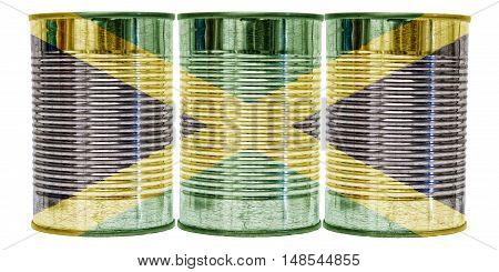 Three tin cans with the flag of Jamaica on them isolated on a white background.