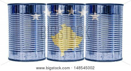Three tin cans with the flag of Kosovo on them isolated on a white background.