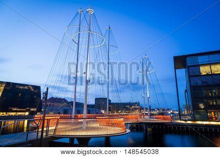 Copenhagen, Denmark - April 27, 2016: Nightshot of the modern Circle Bridge