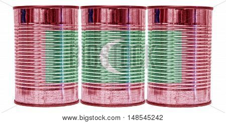 Three tin cans with the flag of Maldives on them isolated on a white background.