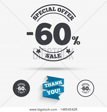 60 percent discount sign icon. Sale symbol. Special offer label. Flat icons. Buttons with icons. Thank you ribbon. Vector