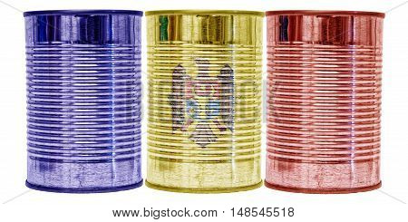 Three tin cans with the flag of Moldova on them isolated on a white background.
