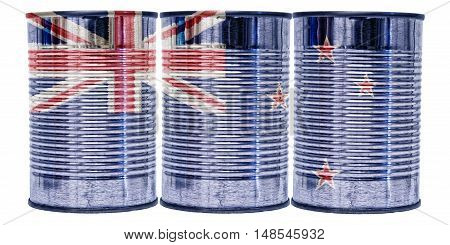 Three tin cans with the flag of New Zealand on them isolated on a white background.