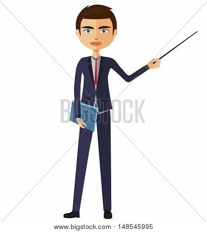 Teacher with a pointer. Young business man presenting something. Tutor character flat cartoon vector illustration. Eps10. Isolated on a white background.