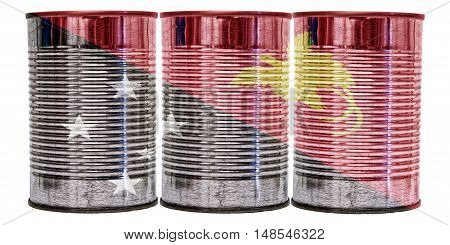 Three tin cans with the flag of Papua New Guinea on them isolated on a white background.