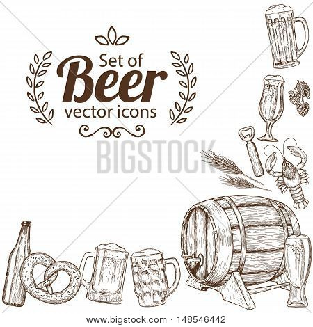 Corner frame of sketch vintage beer icons isolated on white background. Vector stock illustration.