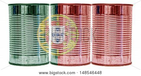 Three tin cans with the flag of Portugal on them isolated on a white background.