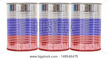 Three tin cans with the flag of Russia on them isolated on a white background.