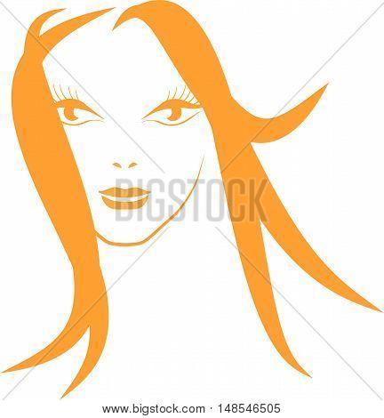 Orange sketch girl's face with ruffling hair on white, vector illustration