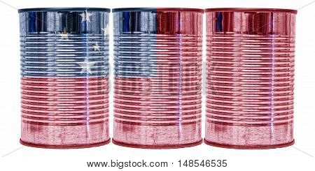 Three tin cans with the flag of Samoa on them isolated on a white background.