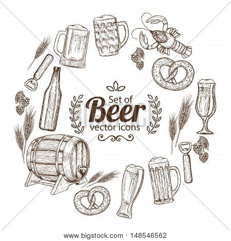 Round frame with sketch vintage beer icons. Template for packaging cards posters menu. Vector stock illustration.