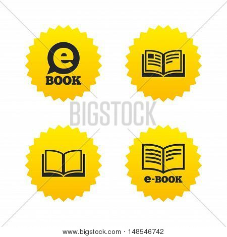 Electronic book icons. E-Book symbols. Speech bubble sign. Yellow stars labels with flat icons. Vector