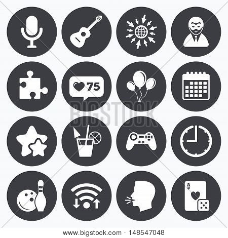 Calendar, wifi and clock symbols. Like counter, stars symbols. Game, bowling and puzzle icons. Entertainment signs. Casino, carnival and alcohol cocktail symbols. Talking head, go to web symbols. Vector