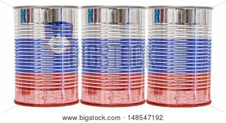 Three tin cans with the flag of Slovenia on them isolated on a white background.